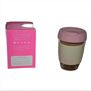 MY TAGALONG Reusable Glass Cup silicone Rim Pink